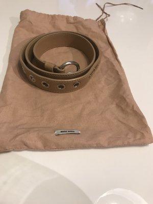 Miu Miu Leather Belt beige-silver-colored