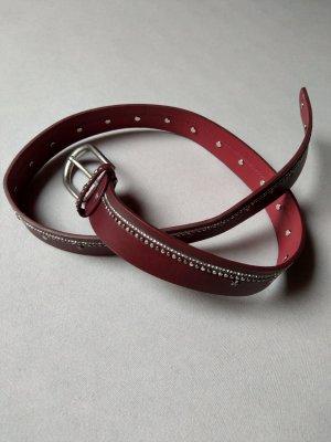 Faux Leather Belt carmine