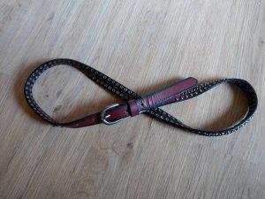 Gürtel rot schwarz Nieten Leder 90cm