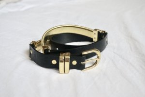 H&M Faux Leather Belt black-gold-colored