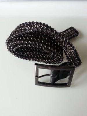 Mango Cinturón negro-color plata