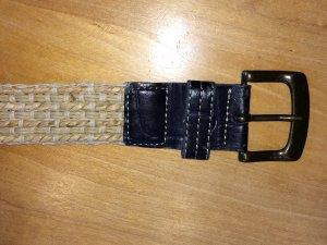 Cintura in tessuto beige-marrone scuro