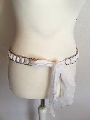 Gürtel Stoffgürtel Bindegürtel weiß silber