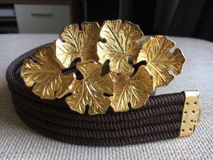 Cintura in tessuto oro-marrone scuro