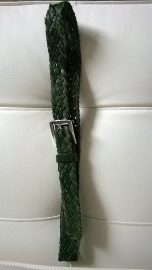 Diesel Braided Belt forest green leather
