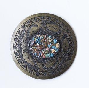 Hebilla del cinturón color bronce-turquesa metal