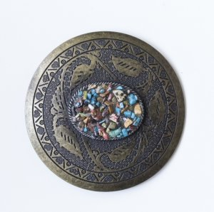 Belt Buckle bronze-colored-turquoise metal