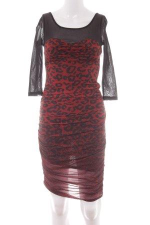 Guess Abendkleid schwarz-rot Animalmuster Elegant