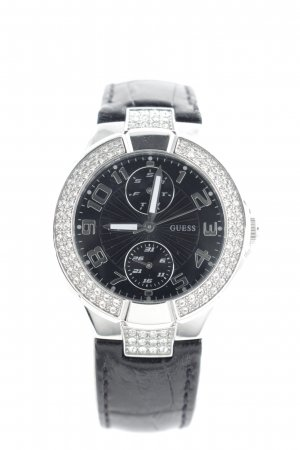 Guess Montre analogue noir-argenté motif animal pailleté