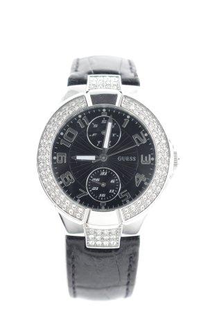 Guess Analoog horloge zwart-zilver dierenprint glitter-achtig