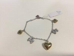 Guess Armband mit Herz-Anhängern und Schleifen - Strass - Gold - NEU!