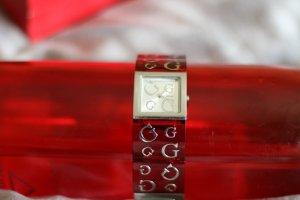 GUESS Armbanduhr Damen Uhr rot Silber edel