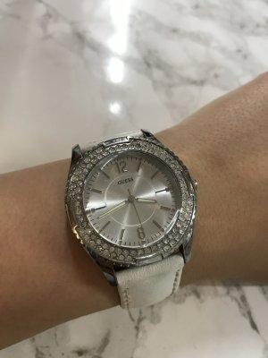 Guess Horloge met lederen riempje wit-zilver Leer