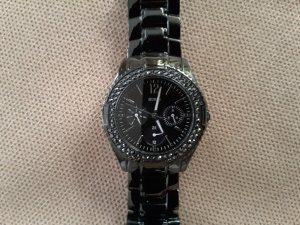 Guess Armbanduhr schwarz metallic mit Steinen besetzt