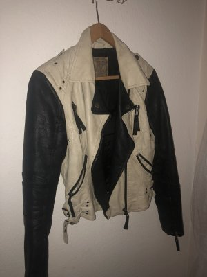 Guess Leather Jacket cream-black