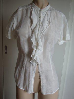 Guess Blusa con volantes blanco puro tejido mezclado