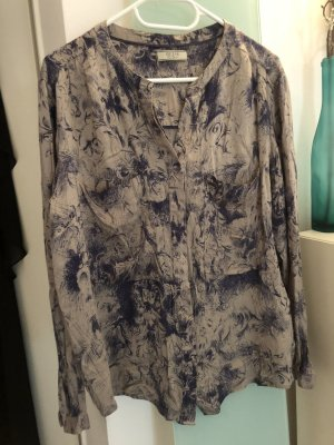 Guess Blusa collo a cravatta blu-marrone-grigio