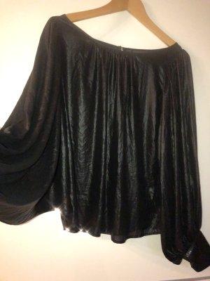 Guess Bluse Pailletten schwarz glänzend Leder Optik weite Ärmel
