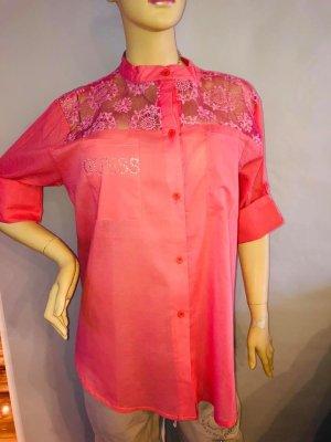 Guess Bluse Tunika in gr L Farbe Corall Neu Baumwolle Spitze