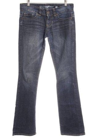 Guess Boot Cut Jeans dunkelblau-graublau Webmuster Casual-Look