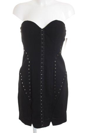 Guess Vestido bustier negro estampado abstracto elegante