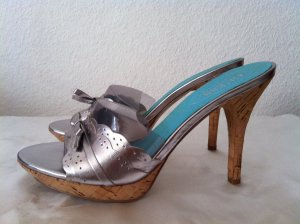 Guess Platform High-Heeled Sandal silver-colored leather