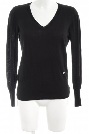 Guess by Marciano V-Ausschnitt-Pullover schwarz Casual-Look
