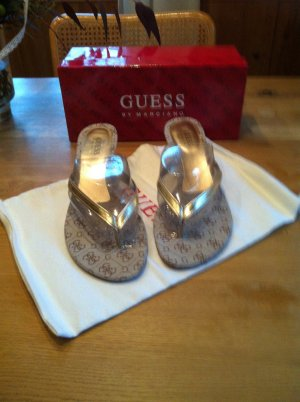 Guess by Marciano High-Heeled Toe-Post Sandals brown-gold-colored leather