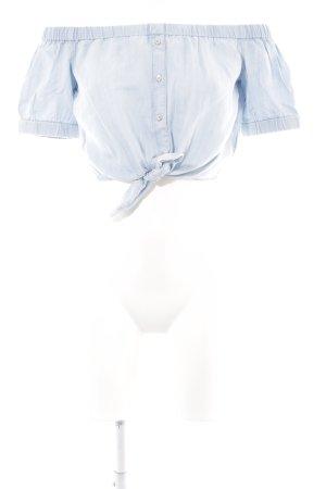 Guess Blusa tipo Carmen azul celeste estilo romántico