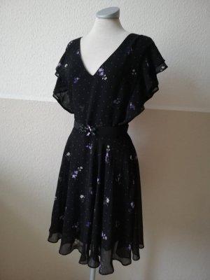 Guess Chiffonkleid Kleid Flügelärmel Gr. 36 38 S M schwarz lila bunt Midikleid Kleid knielang