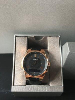 Guess Reloj con pulsera de cuero color rosa dorado-negro