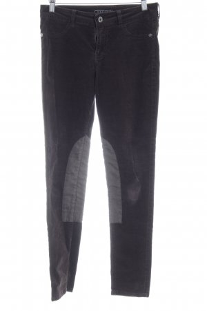 Guess Corduroy Trousers black brown Logo application (leather)