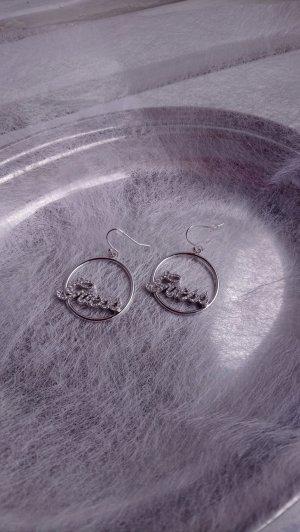 Guess Pendientes tipo aro color plata metal
