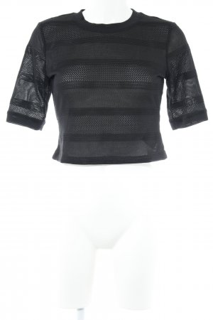 Guess Cropped Shirt schwarz Lochstrickmuster Casual-Look