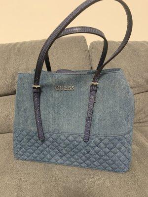 Guess Damen Tasche Jeans Denim Blau Silber