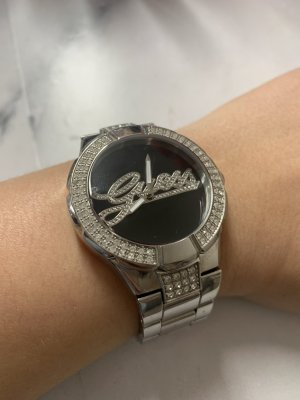 Guess Damen Uhr Silber Schwarz Strass W11571L2