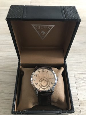 Guess Watch With Leather Strap dark brown-gold-colored