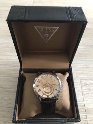 Guess Reloj con pulsera de cuero marrón oscuro-color oro
