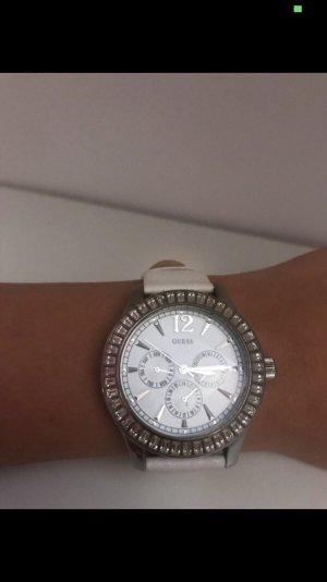 Guess Reloj blanco-color plata