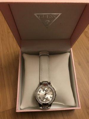 Guess Reloj con pulsera de cuero color plata-blanco