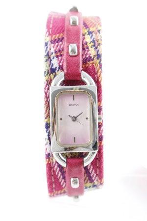 Guess Reloj digital rosa estampado a cuadros Elementos metálicos