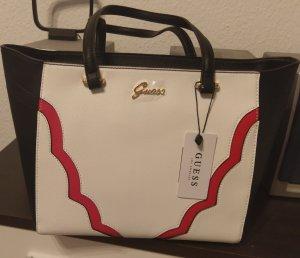 Guess Eilish tote Tasche neu Handtasche schwarz/weiß/rot