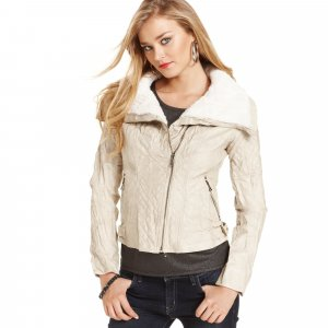Guess Faux Leather Zip-Front Coat