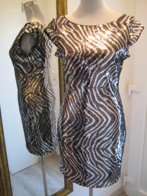 Guess Glitzer Pailletten Kleid schwarz weiss Gr M 38