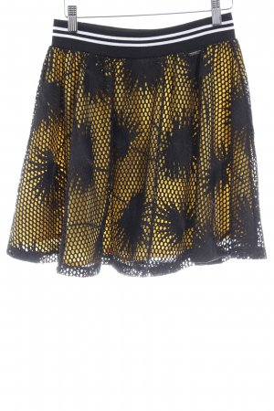 Guess Flared Skirt yellow-black floral pattern extravagant style