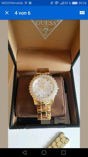 Guess goldene Uhr mit Zirkoniasteinen besetzt mit Ovp
