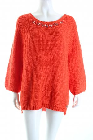 Guess Grobstrickpullover rot Street-Fashion-Look
