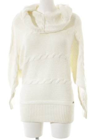 Guess Grobstrickpullover wollweiß Zopfmuster Casual-Look