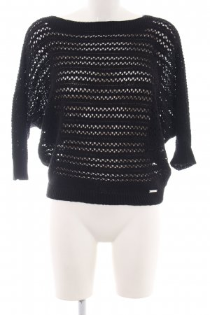 Guess Crochet Sweater black cable stitch casual look