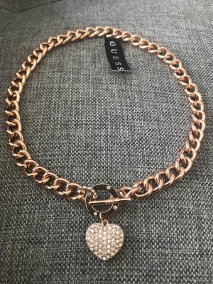 Guess Halskette Charm Strass Herz Roségold rose gold